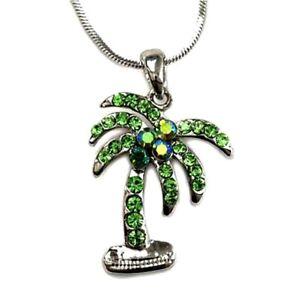 "Beautiful Palm Tree Pendant Necklace 18"" Chain Green Rhinestone Crystals"
