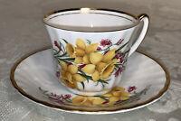 Royal Ardalt Bone China Tea Cup & Saucer Daffodils & Canterbury Bells Gold Trim