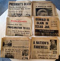 Lot of 6 Vintage John F Kennedy Assassination Newspapers Nov 1963     L5