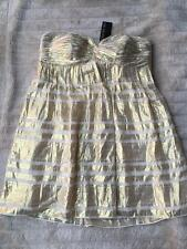 BNWT Forever New January Silk Jacquard Babydoll Dress Pearl Ivory/Gold Size 16