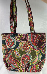 VERA BRADLEY Essential Tote Brown/Green/Pink Quilted Paisley Shopper EUC 13x15