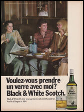 Black & White Scotch print ad 1976 man at table with 2 women