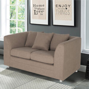Loveseat Sofa 2 Seater Fabric Armchair Couch Settee 3 Pillow Upholstered Lounger