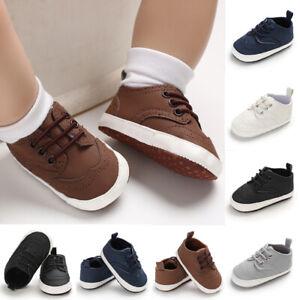Newborn Baby Boy Girl Pre-Walker White Pram Shoes Soft Sole Laces Sneakers 0-18M