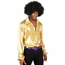 XL 5456 - Deluxe Gold Shirt Adult Mens 60s 1970s Disco Fever Frilly Style SI