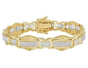 Genuine Diamond Men's Custom Designer Bracelet In 10K Yellow Gold 3 3/4 CT 14MM