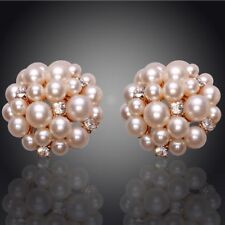 Gorgeous Gold Plated Crystal Pearl Cluster Earrings