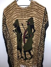 Magic India Mumu Dress Beaded African Warriors Tassles One size Striped Rayon