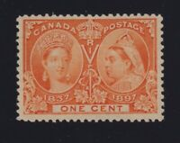 Canada Sc #51 (1897) 1c orange Diamond Jubilee Mint VF NH