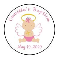 30 Personalizd Baptism Christening party stickers labels favors girl pink angel