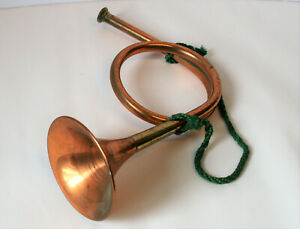 Vintage French Hunting Horn, Copper with Brass - French Trumpet 12.5in Long