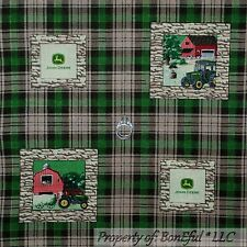 BonEful FABRIC FQ Cotton Quilt VTG Green White Red Plaid John Deere Farm Tractor