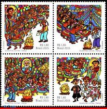 3306 BRAZIL 2015 JUNE FESTIVALS, DANCE, MUSIC, MUSICAL INSTRUMENTS, FOLKLORE,MNH