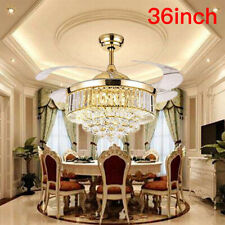 """Gold 36"""" Remote Invisable Ceiling Fan Lamp Crystal Led Lighting Chandeliers"""