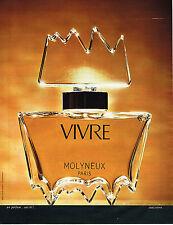 PUBLICITE ADVERTISING 035  1973  MOLYNEUX  parfum femme VIVRE
