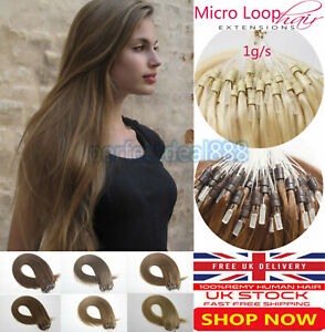 """14""""16""""18""""20""""22""""24"""" 1G Double Drawn Micro Loop Ring Remy Human Hair Extensions 7A"""