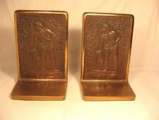 Pr Bronze Bookends 9698 The Last Of The Mohicans Vintage Man & Dog Judd Mfg Co