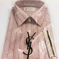 Vintage Yves St Laurent Chemises Shirt Red Button Front Long Sleeve 16 32/33 YSL