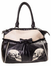BANNED SKULL GOTHIC HANDBAG ROSES FAUX LEATHER BLACK SHOULDER LACE BAG LADIES