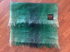 Creagaran Mohair Wool Blend Plaid Throw Blanket 50 X 36 Made in Scotland GREEN