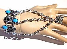 SILVER & TURQUOISE COLORED BOHEMIAN SLAVE BRACELET cuff ring Tibetan boho new 5D