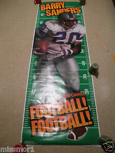 "1996 Barry Sanders Detroit Lions advertising poster 26x75"" vintage GIANT NICE~"
