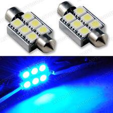 2x Error Free Blue LED Bulbs 6411 / 6418 Festoon Dome Map Light