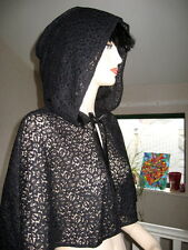 New Gothic black Lace Hooded Cape Poncho Rock Wedding Halloween Lolita-ONE SIZE