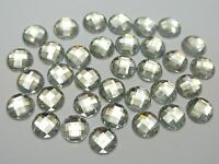 200 Clear Acrylic Flatback Faceted Round Rhinestone Gems 10mm No Hole
