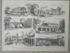 Berliner Stadtbahn - 6 Ansichten HOLZSTICHE von 1881 Moabit Jannowitzbrücke