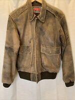 vintage distressed  Leather brown  bomber Mens Zip Up Jacket Size M