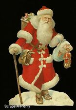 German Embossed Scrap Die Cut - Large Christmas Santa With Toys      BK5138