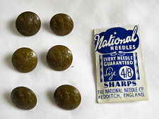 WW2 General Service Buttons (x 6) and a pack of 4/8 National sewing needles.