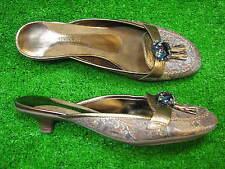 7 M Enzo Andiolini Kitten Heels Tapestry Gold Brown Women Ladies Shoes Jae Marie