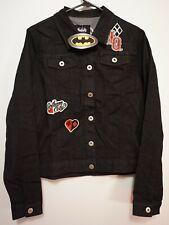 Harley Quinn Denim Jean Jacket  DC Batman Joker Black Medium Bioworld NWT