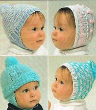 BABY HATS KNITTING PATTERN IN DK. SIZES BIRTH TO 4 MONTHS.