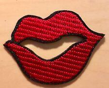 Kussmund Aufnäher / Aufbügler patch Lippen Kussmund Rockabilly Applikation rot