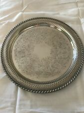 """Vintage Wm. A. Rogers 12"""" Silver Plated Round Serving Tray Platter"""