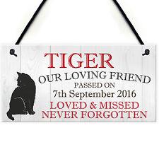 Personalised Pet Cat Memorial Bereavement Loss Hanging Plaque Keepsake Sign