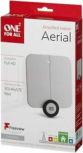 One For All Ultra Flat Amplified Indoor Digital TV Aerial - Ready to receive Fre