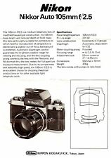 1970s NIKKOR AUTO 105mm  f/2.5 LENS INSTRUCTION MANUAL -NIKON SLR 35mm CAMERAS