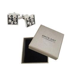 Mens Square Skull Crystal Eyes Cufflinks & Gift Box - Pirate Theme By Onyx Art