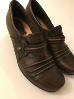 Earth Womens Shoes Loafers Slip On Dress Heels Brown Leather 9.5B