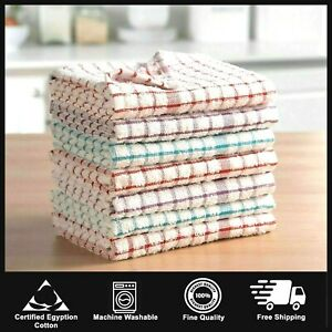 Pack 2-15 Terry 100% Cotton Tea Towels Set Kitchen Dish Cloths Cleaning Drying