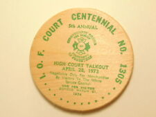 1973 Prince George, BC wooden Spruce Dollar: I.O.F. Court Centennial No 1305