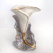 Vintage Kass Calla Lily Gold Trimmed Porcelain Vase Blue Pearl Lusterware