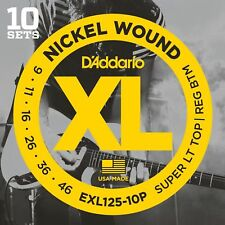 D'ADDARIO EXL125-10P SUPER LT/REG NICKEL WOUND ELECTRIC GUITAR STRINGS, 10 PACK