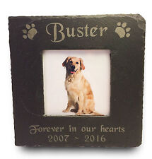 Personalised Engraved Pet Memorial Slate Photo Picture Frame Dog Cat Pets