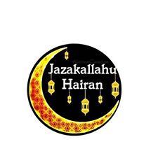 Beautiful Jazaaakallah Stickers X 50 (37mm Diameter). Glossy Finish