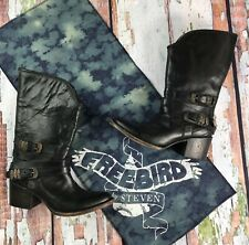 FREEBIRD BY STEVEN HOBO HIPPY PIKES WESTERN RIDING LEATHER BOOTS BLACK 7 NIB